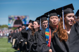 A row of graduates at UNH commencement 2017