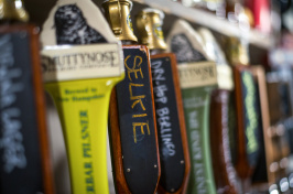 "beer on tap, including ""Selkie,"" at the Portsmouth Brewery in New Hampshire"