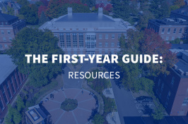an aerial view of UNH's Durham campus with the overlaid text The First Year Guide: Resources
