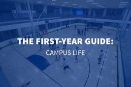 aerial view of a basketball court in the UNH Hamel Recreation Center with overlaid text The First Year Guide: Campus Life