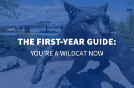 the wildcat statue at UNH with overlaid text The First Year Guide: You're a Wildcat Now