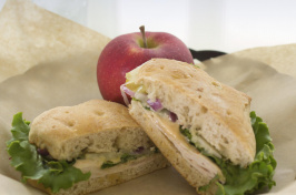 a sandwich and apple at UNH Dairy Bar