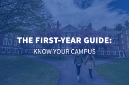 two UNH students walking in the upper quad with overlaid text The First Year Guide: Know Your Campus