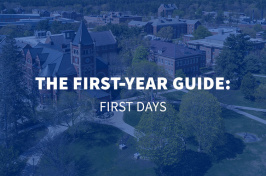 an aerial view of the UNH Durham campus with the text The First-Year Guide: First Days