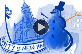 illustration of UNH's Thompson Hall and a snowman