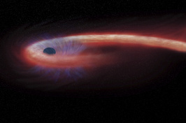 This artist rendering provided by NASA shows a star being swallowed by a black hole, and emitting an X-ray flare, shown in red, in the process