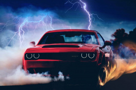 Dodge Demon with lightning in the background