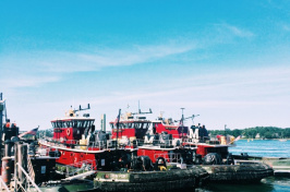 tugboats at a dock in Portsmouth