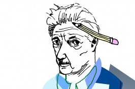 Illustration of UNH alumnus John Irving '65