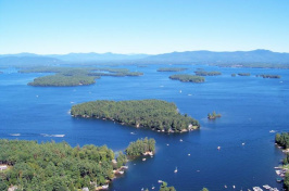 an aerial view of Lake Winnipesaukee