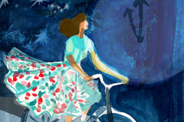 illustration of a woman riding a bicycle in front of a large clock
