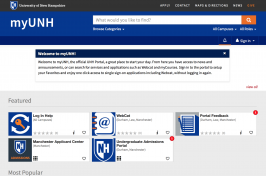 screen shot of myUNH web page