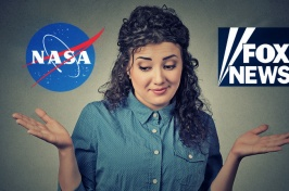 NASA and Fox News logos appearing on either side of a woman shrugging