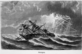 "The sailing ship Ouragan — depicted in ""Les Meteores"" by Margolle and Zurcher, 3rd edition, published in 1869 — labors at sea under hurricane conditions. Credit: NOAA Photo Library."