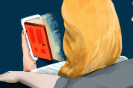 illustration by Maria Fabrizio for NPR of a woman looking at a door opening on her phone and a man's arm around her