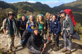 EcoQuest participants on a hike in New Zealand.
