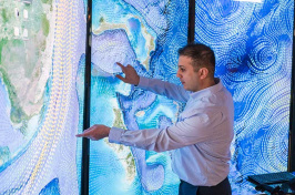 Erol Aygar conducts data visualization research at the Center for Coastal and Ocean Mapping in Durham