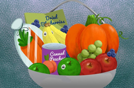 illustration of a basket filled with fruits and vegetables