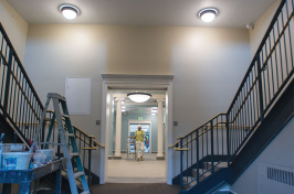 interior shot of stairwells in newly renovated Hamilton Smith Hall
