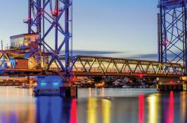 bridge lit up at night