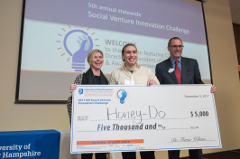 First-place student winner track Andrew DeMeo, '18 (center)