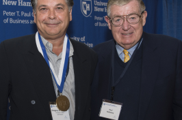 Gregory Sancoff, left, poses with Paul Holloway during the 2016 Paul J. Holloway Prize Competition championship round.