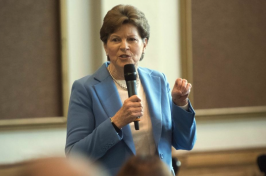Sen. Jeanne Shaheen talks at UNH about proposed cuts to research funding (John Huff / Fosters.com)