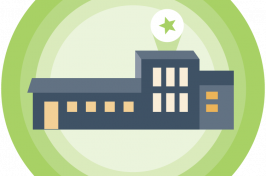 illustration of buildings against a green circular background