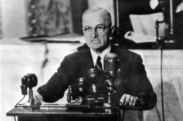 "President Harry S. Truman addressing a joint session of Congress asking for $400 million in aid to Greece and Turkey. This speech became known as the ""Truman Doctrine"" speech. (WIKIMEDIA COMMONS)"