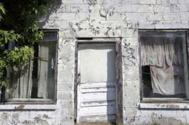 an abandoned storefront in Lewiston-Woodville, N.C.