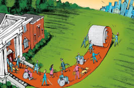 illustration of people rolling out a path from a building to the city