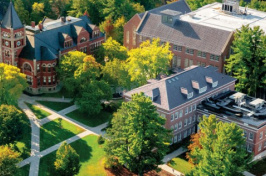 UNH campus aerial view of Thompson Hall