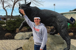 Vinnie Lo Buono '20 at the UNH Wildcat statue