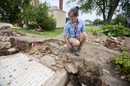 Alix Martin at excavation site