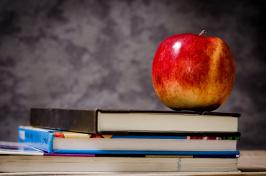 Image of Book, Apple and Blackboard
