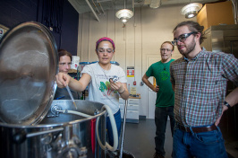 students in UNH's new brewing program