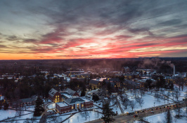 UNH campus at sunset - January 2018