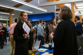 Student and employer speaking at Biotech Career Fair