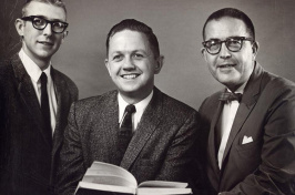 1962 photo of theatre professor Gil Davenport, John Edwards and Joseph Batcheller