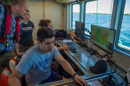 UNH GEBCO scholars are collecting both bathymetry data and backscatter data on the R/V Gulf Surveyor research vessel