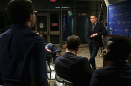 a student asks Jason Kander a question at American University in Washington D.C.