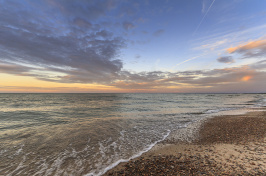 Lake Erie beach at sunset