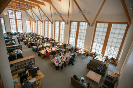 Students studying in UNH main library