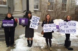 Supporters of Marsy's Law for N.H. outside the Statehouse on the day of a Senate Judiciary Committee hearing