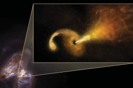 Artist's conception of a Tidal Disruption Event (TDE). The background is a Hubble Space Telescope image of Arp 299, a pair of colliding galaxies.