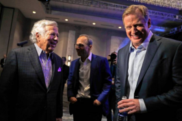 NFL Commissioner Roger Goodell (right) laughs with New England Patriots owner Robert Kraft before a news conference on Jan. 31. AP Photo
