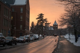 A view of UNH's Paul College and Thompson Hall