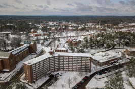 Aerial view of UNH's Stoke Hall and surroundings in winter