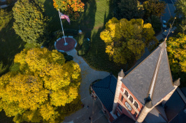 An autumn aerial view of UNH's Thompson Hall