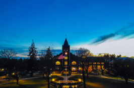 UNH's Thompson Hall in early evening